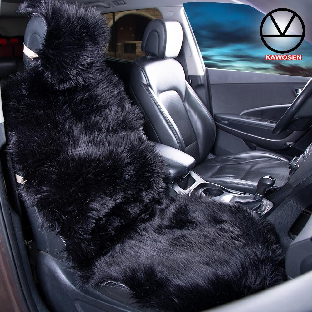 COVERS 1 Piece Long Faux Fur Seat Covers, Artificial Plush Car Seat Cover Universal, Cute Plush Black Seat Cushion LFFS02
