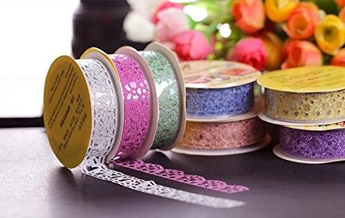 1pc de colores de caramelo de encaje cinta decoración rollo DIY Washi decorativas adhesiva cinta adhesiva de papel cinta adhesiva álbum cinta