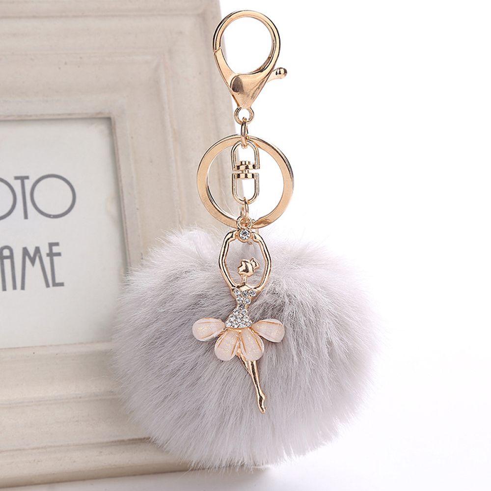 Xmas Lovely Crystal Ballet Girl Pompom Keychains Golden Dancing Angel Fluffy Puff Ball Pendants Key Chain Fashion Women Jewelry
