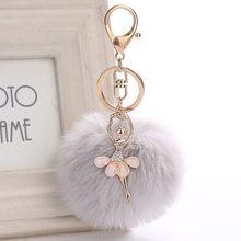 Noël belle cristal Ballet fille pompon porte-clés doré danse ange moelleux bouffée balle pendentifs porte-clés mode femmes bijoux