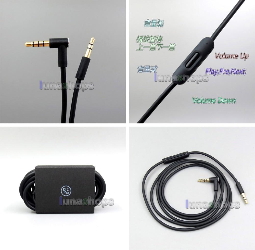 LN006201  Mic Remote volume 3.5mm Jack Audio Cable Cord Wire for Solo HD Studio Pro Mixr v-moda Beyerdynamic Custom One Pro