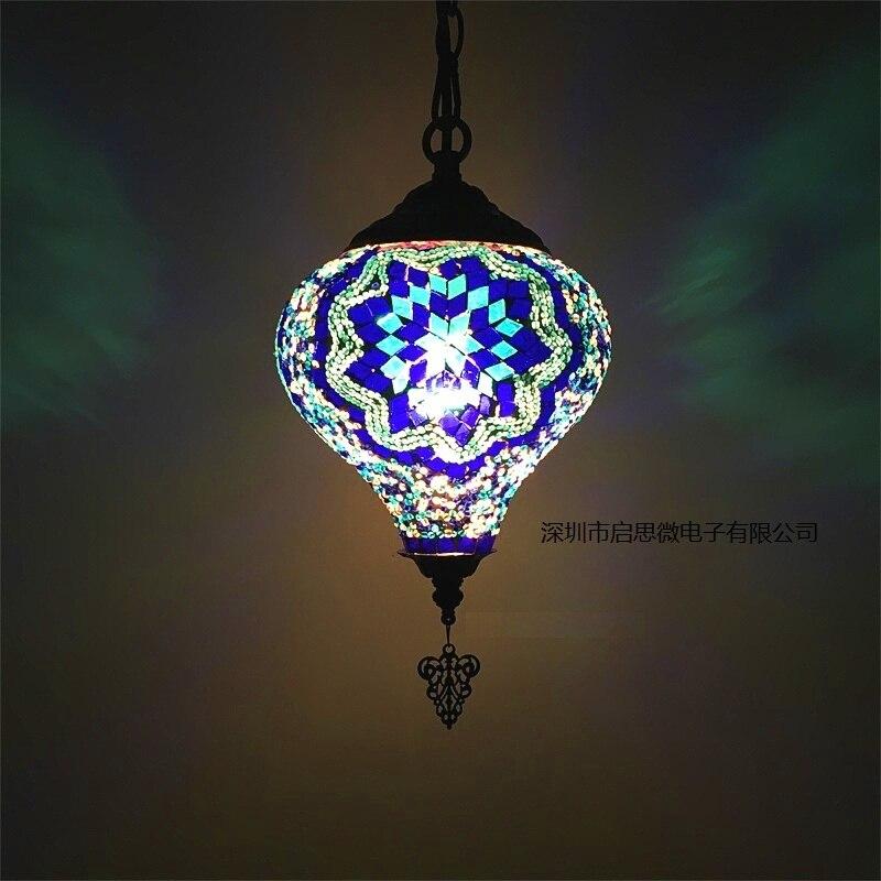 مصابيح معلقة زجاجية مرصعة يدويًا على طراز البحر الأبيض المتوسط ، مصابيح معلقة مزخرفة على الطراز التركي ، E14 ، لغرفة النوم وغرفة المعيشة