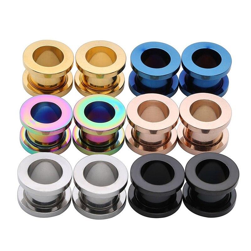 Унисекс 2 шт стальные ушные затычки для ушей туннельная телесная серьга манометры полые туннели пирсинга расширители кольца Цветные смешанные ювелирные изделия для тела
