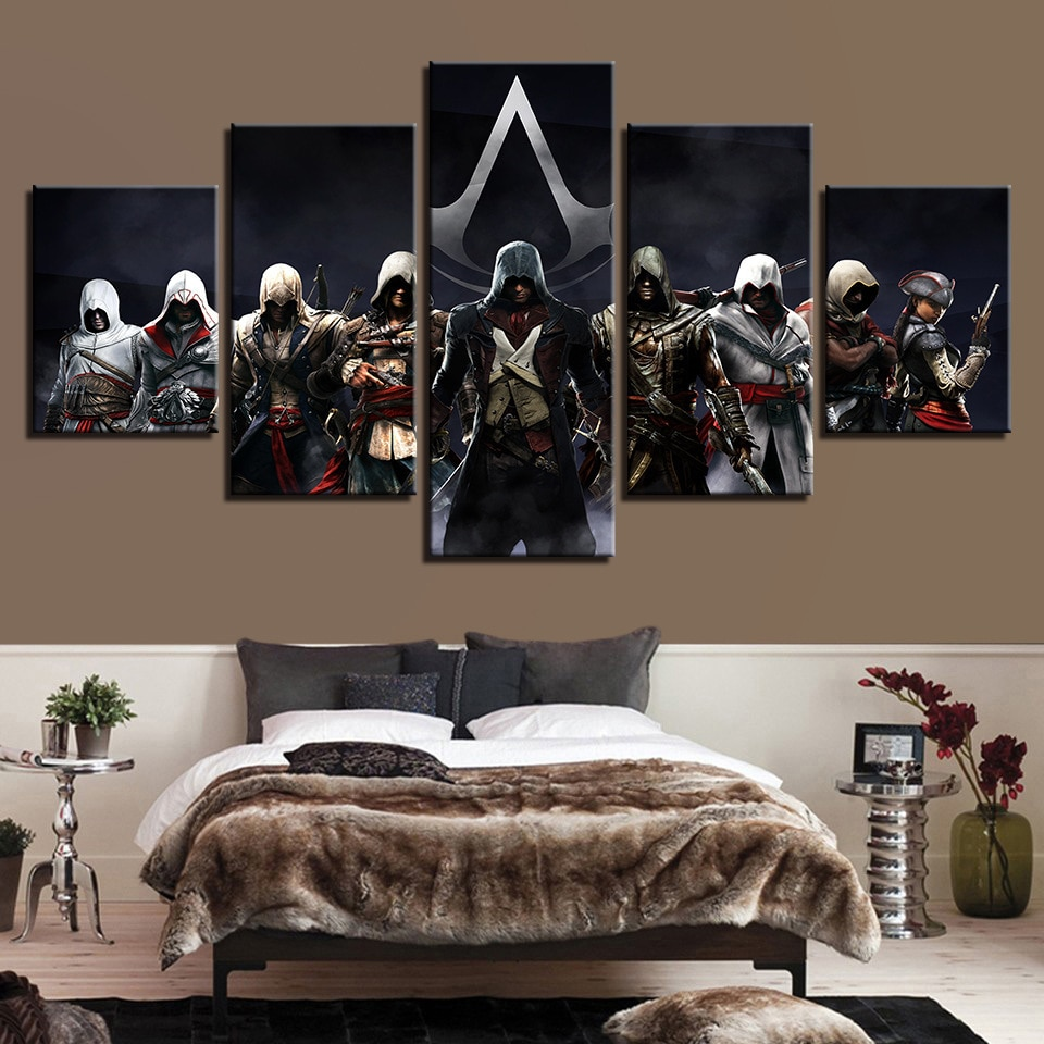 Cuadros de lienzo Assassins Creed Multiple Connor War 3 Marco de arte de pared decoración del hogar 5 piezas impresión cuadro decorativo habitación
