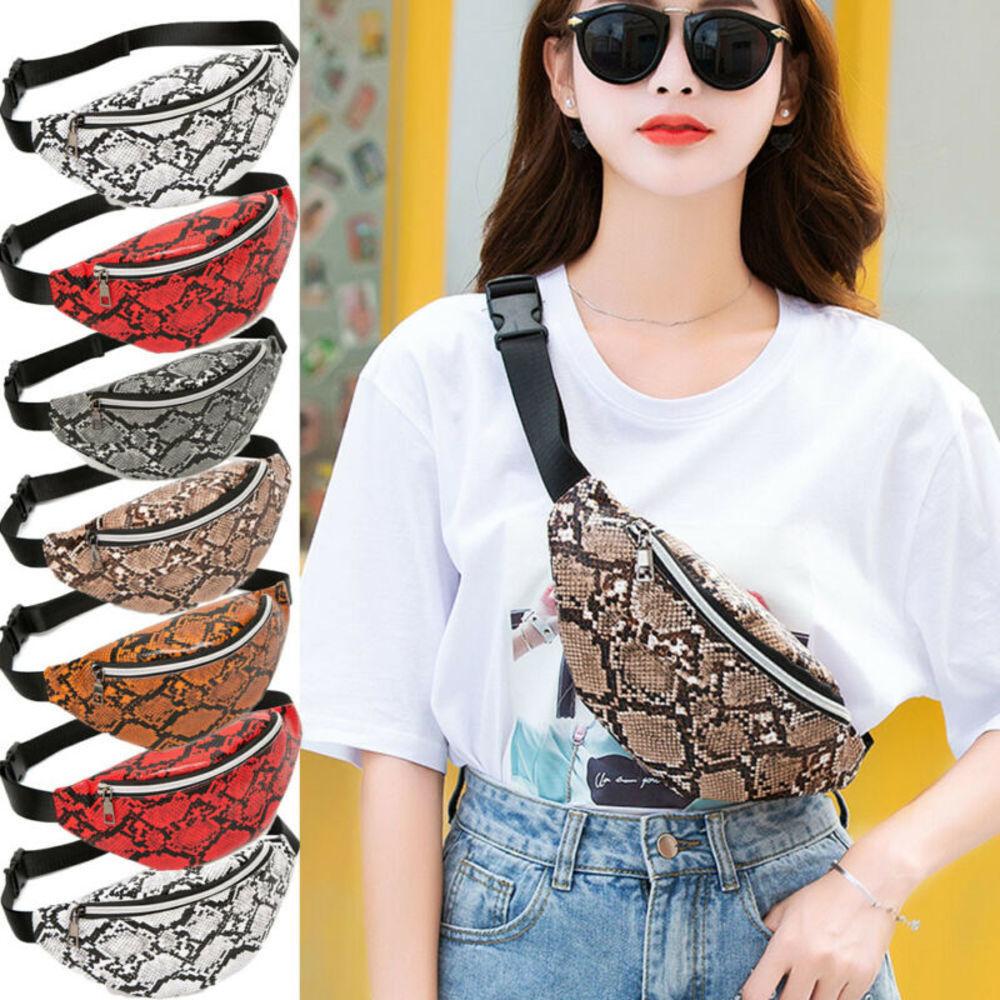 2019 Women Waist Fanny Pack Belt Bag Travel Hip Bum Bag Small Purse Chest Pouch Home Storage Snake Print Travel Bag Handbay