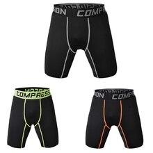 Masculino esportes ginásio compressão wear sob camada base calças curtas atlético meia calças