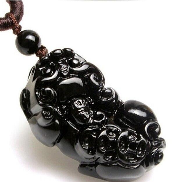 Colgante de obsidiana pi xiu de cristal Natural, accesorios de La Fortuna apotropaica para mujeres masculinas a la moda, transbordo