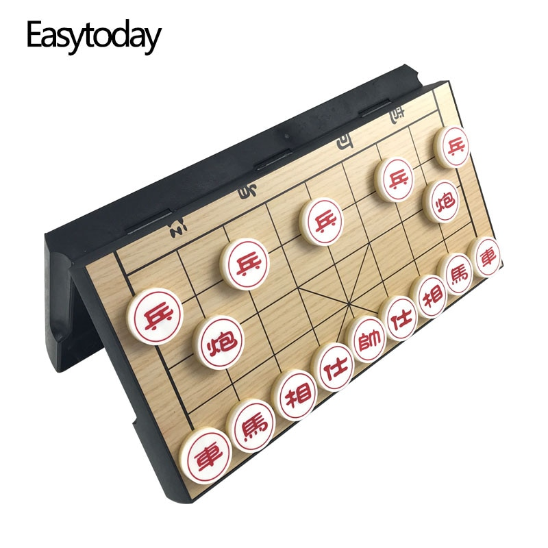 Easytoday Plastic Chinese Chess Game Set Protable Folding Chessboard Magnetic Pieces Entertainment Games Gift