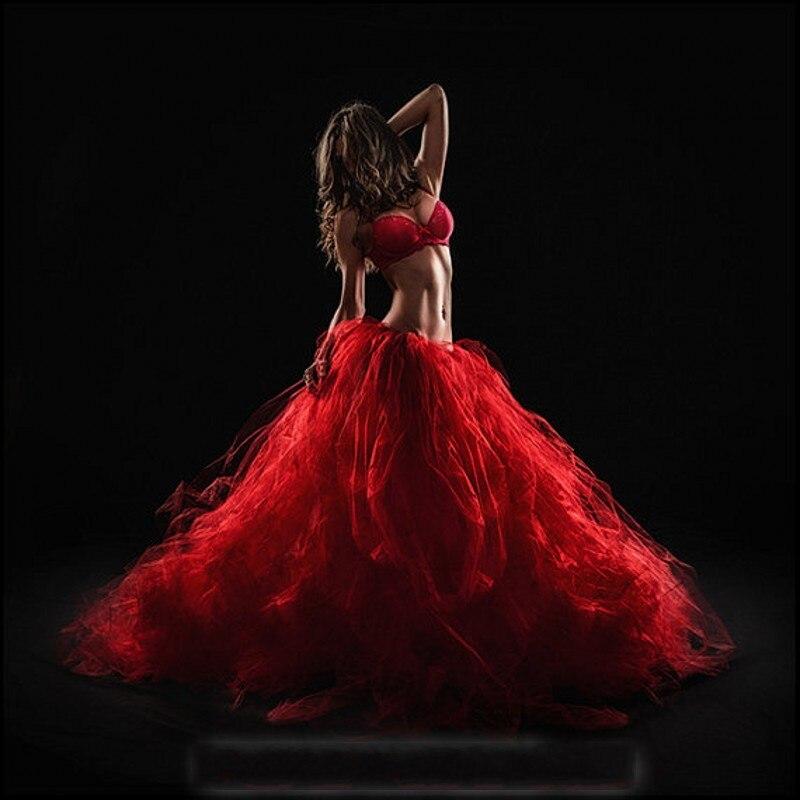 Vestido de baile rojo faldas de tul volantes hasta el suelo faldas para baile indio hecho a medida de talla grande faldas fiesta formales para mujeres