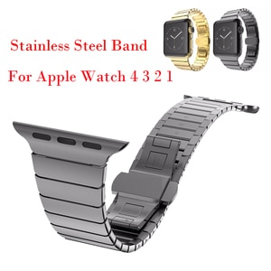 Luxury Stainless Steel Watch Band for Apple Watch 4 3 2 1 44mm 38mm 42mm 33mm Bracelet Strap Bands For iwatch Butterfly Clasp