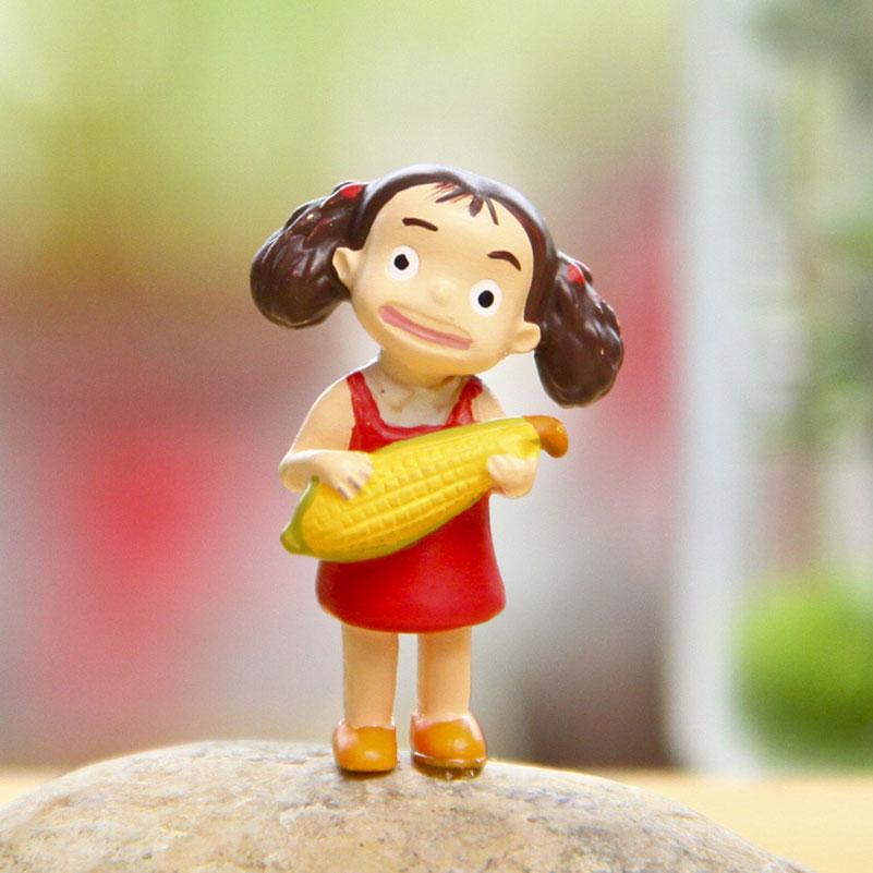 Aleatoriamente diy kawaii decoração do jardim mini 3.5cm miyazaki hayao xiaomei milho totoro figura anime ação microscópica bonsai modelo