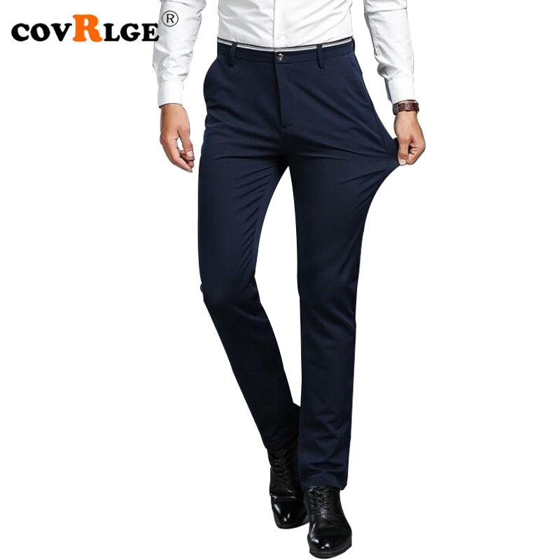 Мужские длинные брюки Covrlge, летние однотонные облегающие брюки, деловые повседневные брюки с высокой эластичной резинкой, MKZ005
