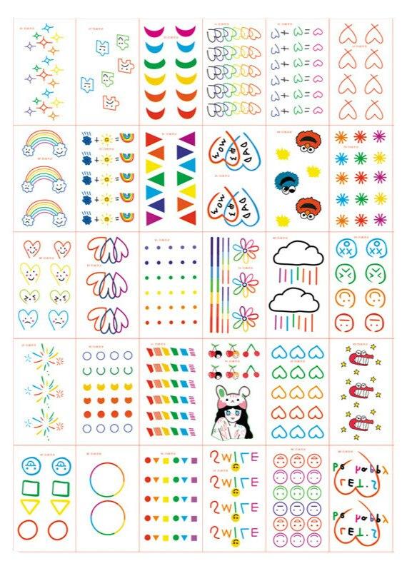 30 unids/set tatuaje adhesivo temporal impermeable colorido cara sonriente Corazón y arcoíris falso tatuaje femenino niños tatuaje de larga duración