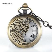 Top marque GORBEN Bronze sculpture Phoenix montre de poche avec chaîne FOB éléments orientaux Quartz montre de poche cadeau Reloj de bolsillo