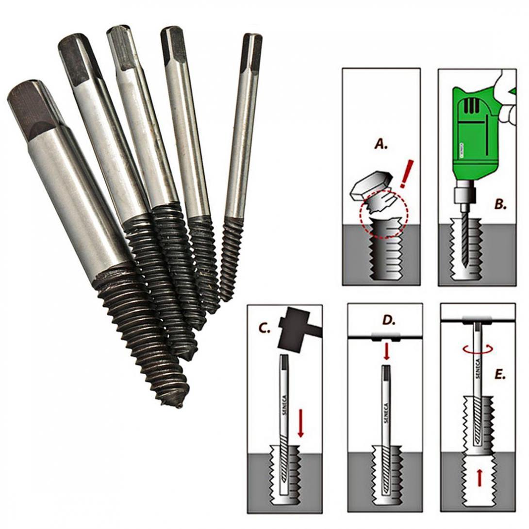 Extractor de tornillo de acero de 5 unids/lote conjunto fácil de brocas guía Extractor de perno dañado roto