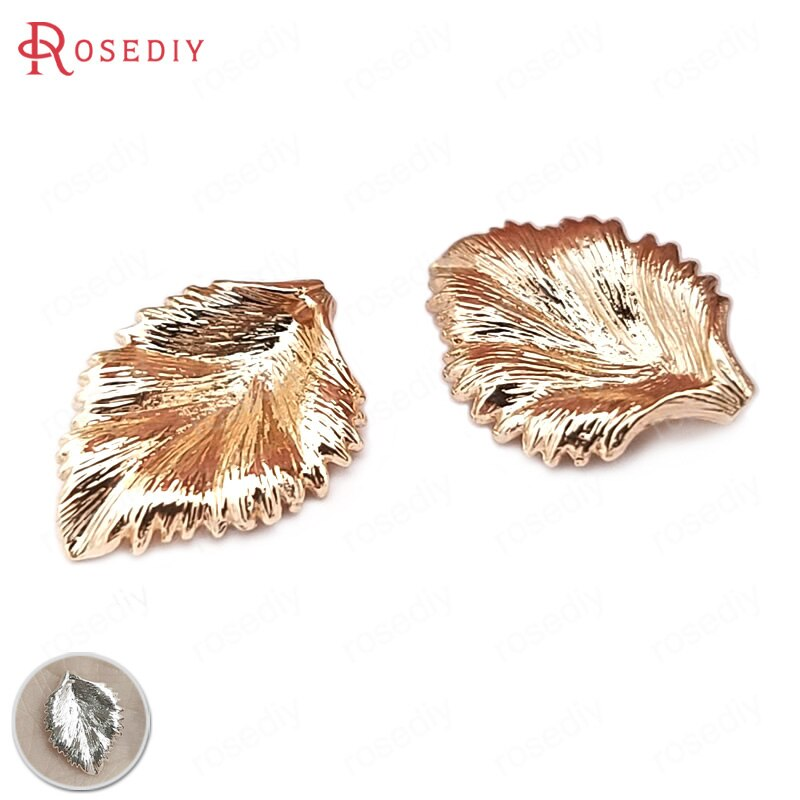 10PCS 12x17MM 24K Gold Farbe Überzog Messing Baum Blatt Charms Blätter Perlen Kappen Hohe Qualität diy Schmuck Zubehör