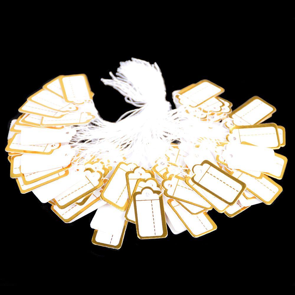 100 pçs jóias corda cabo preço tags impressão personalizada em branco etiqueta de prata de ouro acessórios de exibição loja de jóias