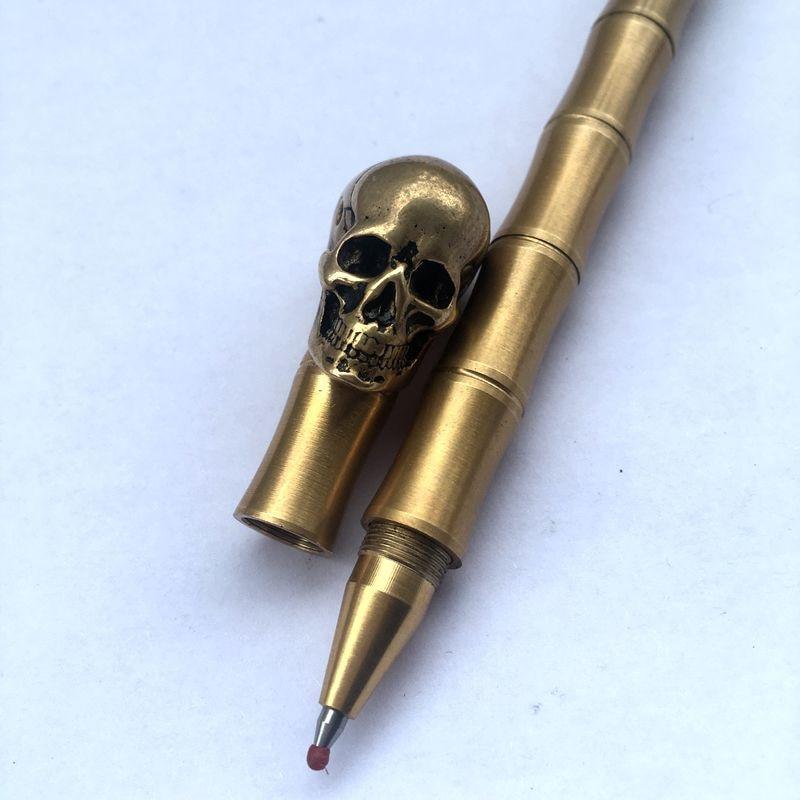 Инструменты для письма ручной работы твердая латунная ручка шар Череп точка