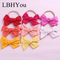 20pcs soild cotton bows nylon headbands for girlsnewborn baby knot bow elastic nylon hairbandstoddler girls hair accessories