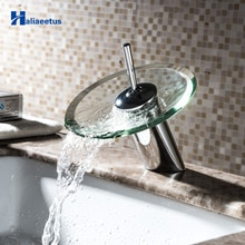 Robinet de salle de bains en verre   Mitigeur de cascade en verre chromé robinet de salle de bains, mitigeur dévier monté sur le pont chaud et froid