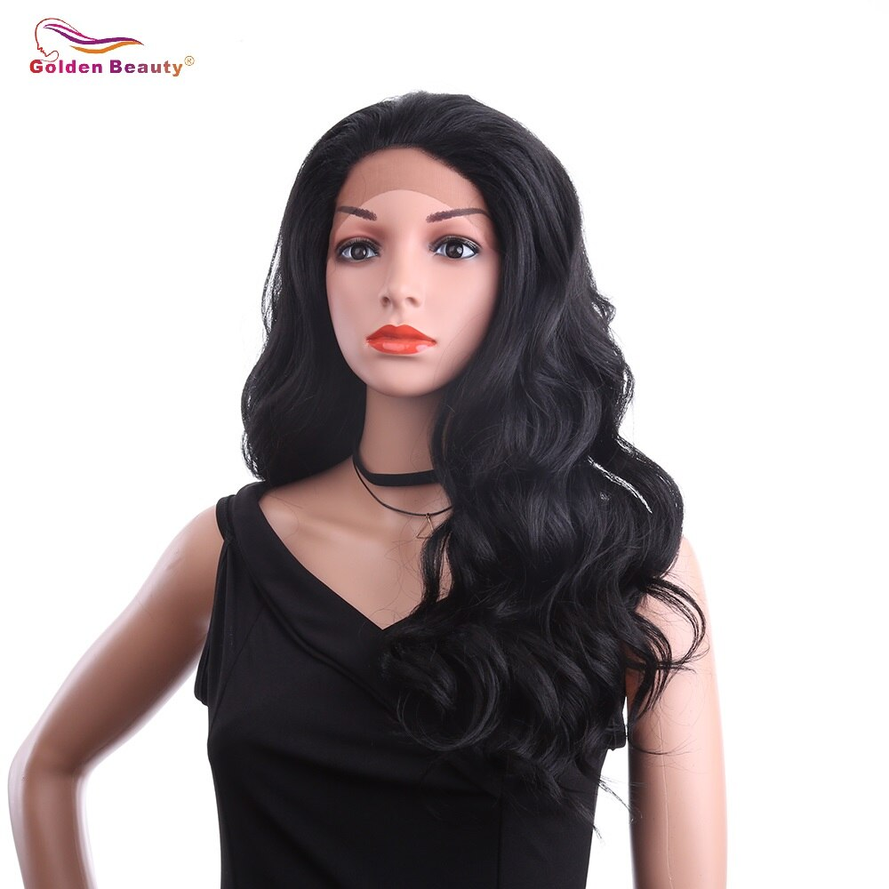 Peluca con cuerpo ondulado de 24 pulgadas, peluca con malla frontal de pelo sintético ombré gris sintético, peluca larga negra para mujer, belleza dorada