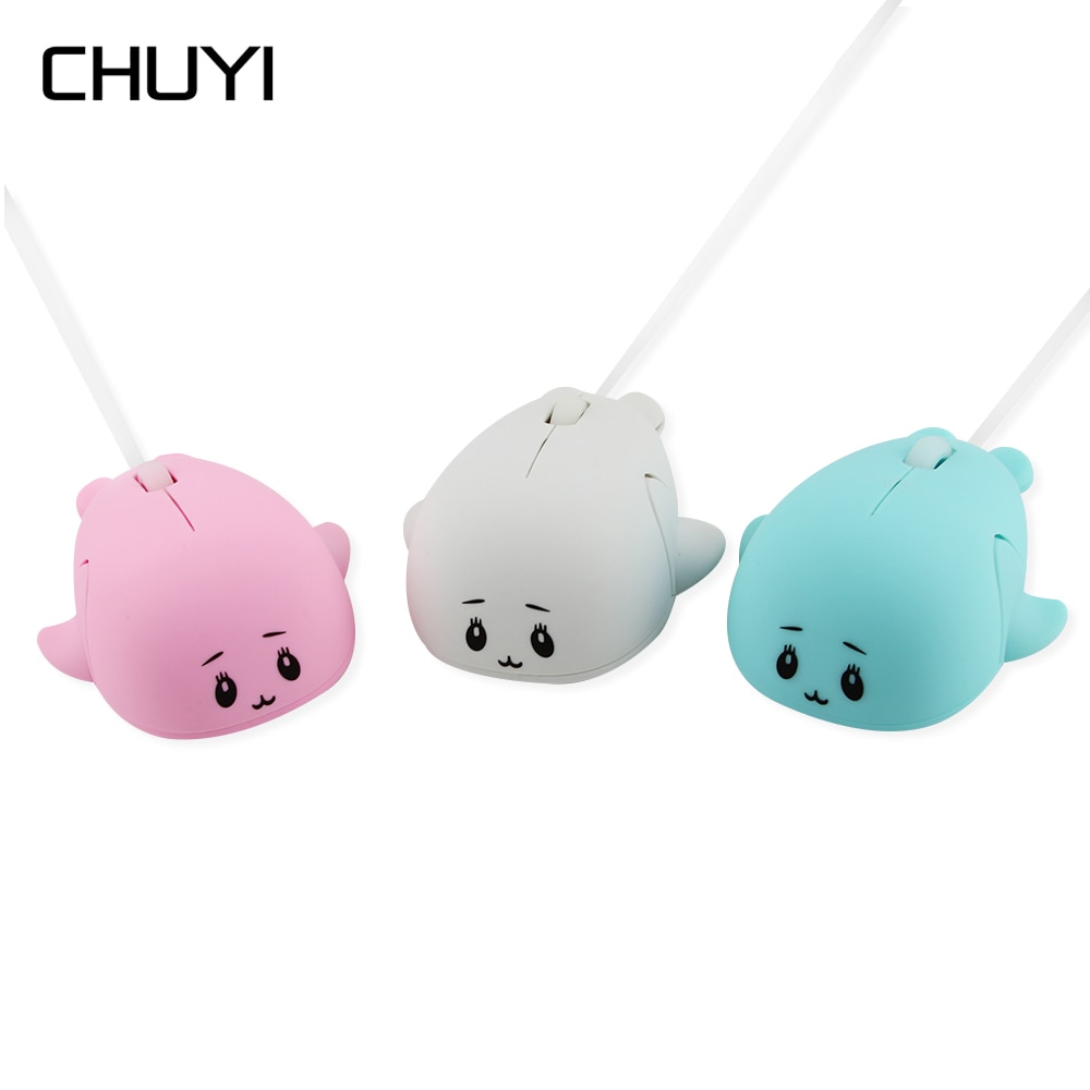 Mini ratón con Cable de 1600DPI, ratón óptico con forma de delfín, Cable USB, ratón 3D bonito de dibujo animado para ordenador, PC, ratón para niños, regalo para chica, portátil