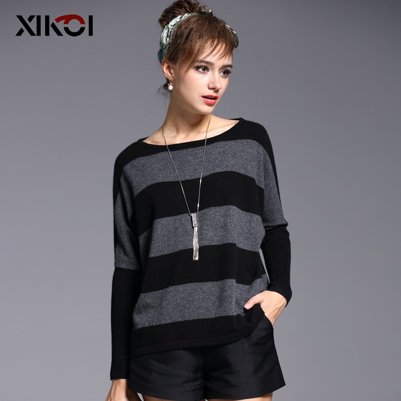 XIKOI High Quality Women Sweater O-neck Casual Fashion Pullovers Tops Long Sleeve Grey Striped Cashmere Female Plus Sweaters enlarge