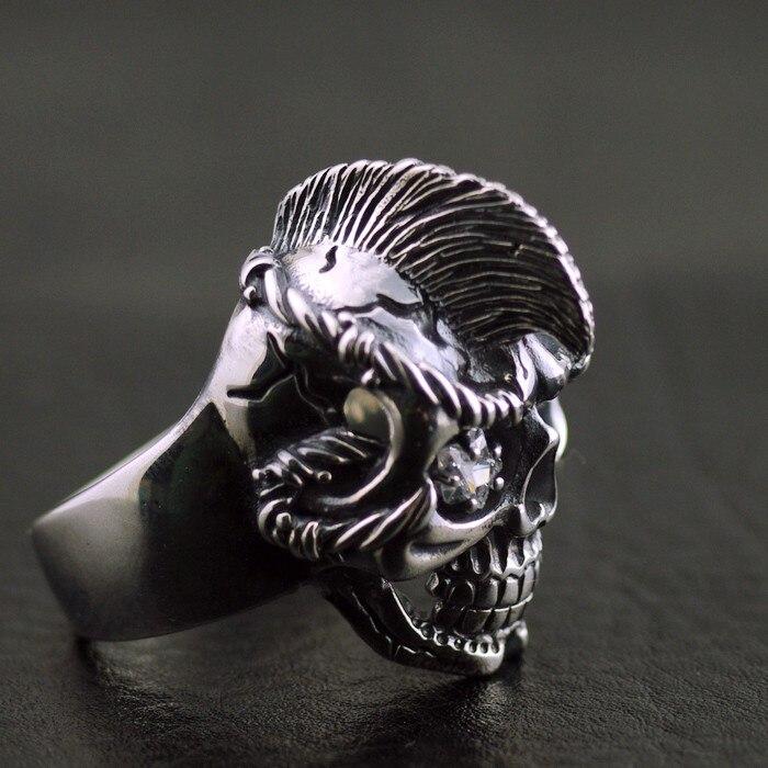 Modelos masculinos moxi cabelo seco crânio tailandês anel de prata