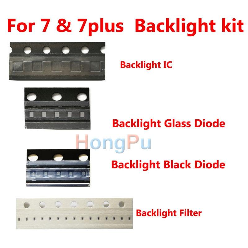 Kit de retroiluminación LED de 2 set/lote para iPhone 7 7 plus, chip IC de retroiluminación, filtros de diodo, fusibles, kit completo para dim, sin luz de fondo, pieza fija