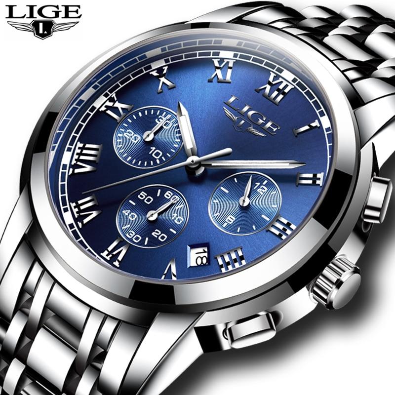 2020 Men Watch Luxury Top Brand LIGE Sport Chronograph Watches Mens Waterproof Full Steel Quartz Clo
