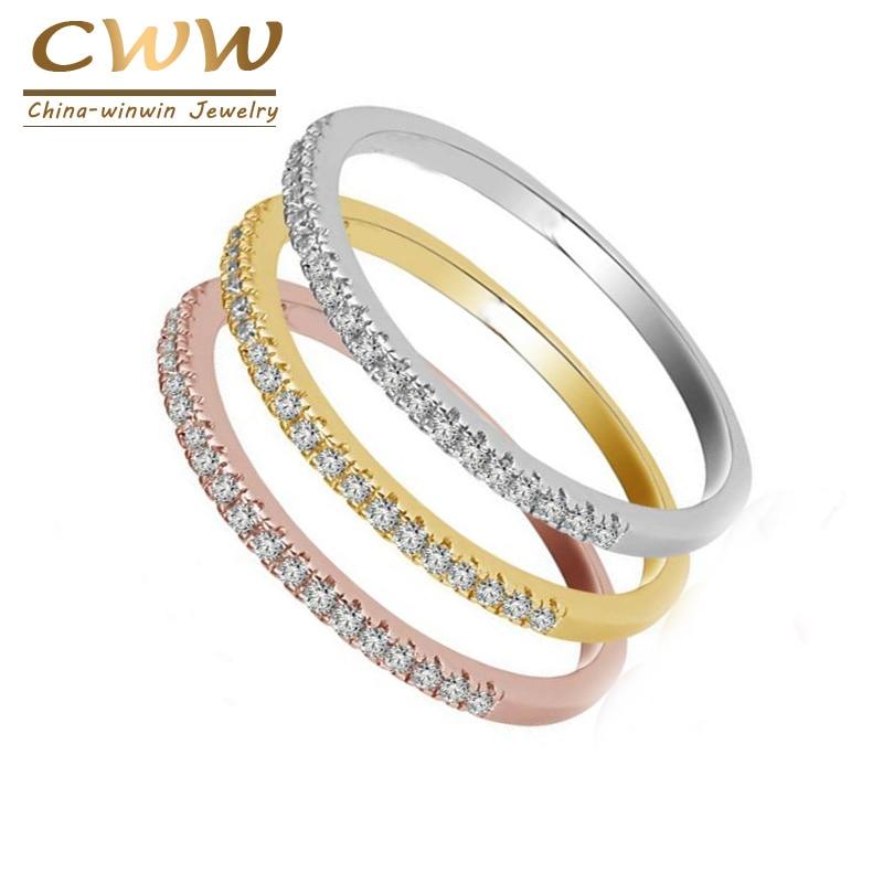Cwwzircons 3 tons de cor alta qualidade micro pave cz ol marca jóias moda zircônia cúbica anel de noivado para mulher r094