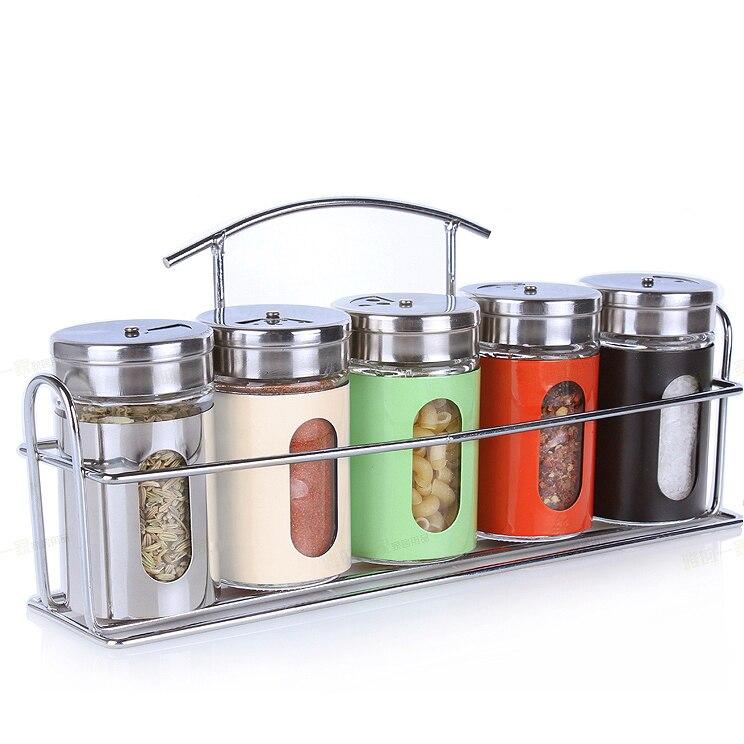 Houmaid accesorios de cocina de acero inoxidable frascos de almacenamiento de vidrio para especias para condimento de pimienta frascos de sales barbacoa Shaker con soporte