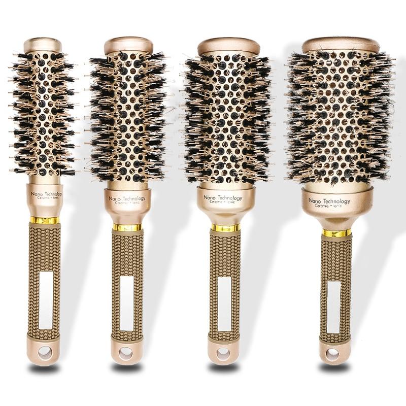 4 unids/set 4 tamaños cerdas y Sarga de nailon Broach pelo rizador peine cerámica aluminio redondo iónico Detangling Combs cepillo de pelo 1246