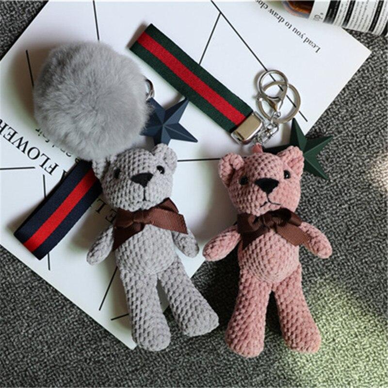 Adorable caricatura animé oso Animal muñeca llavero Bola de pelo de conejo pompón llavero mujer coche bolsa colgante llaveros regalo