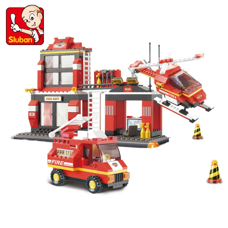 Sluban строительные блоки 0225 игрушки для детей городской пожарной станции строительные блоки DIY модели игрушки блоки пожарный блок подарки
