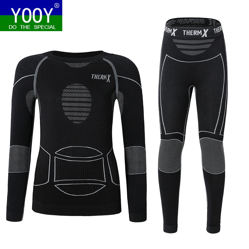 Зимнее термобелье для мальчиков YOOY, Детские функциональные рубашки и штаны, спортивный комплект для девочек