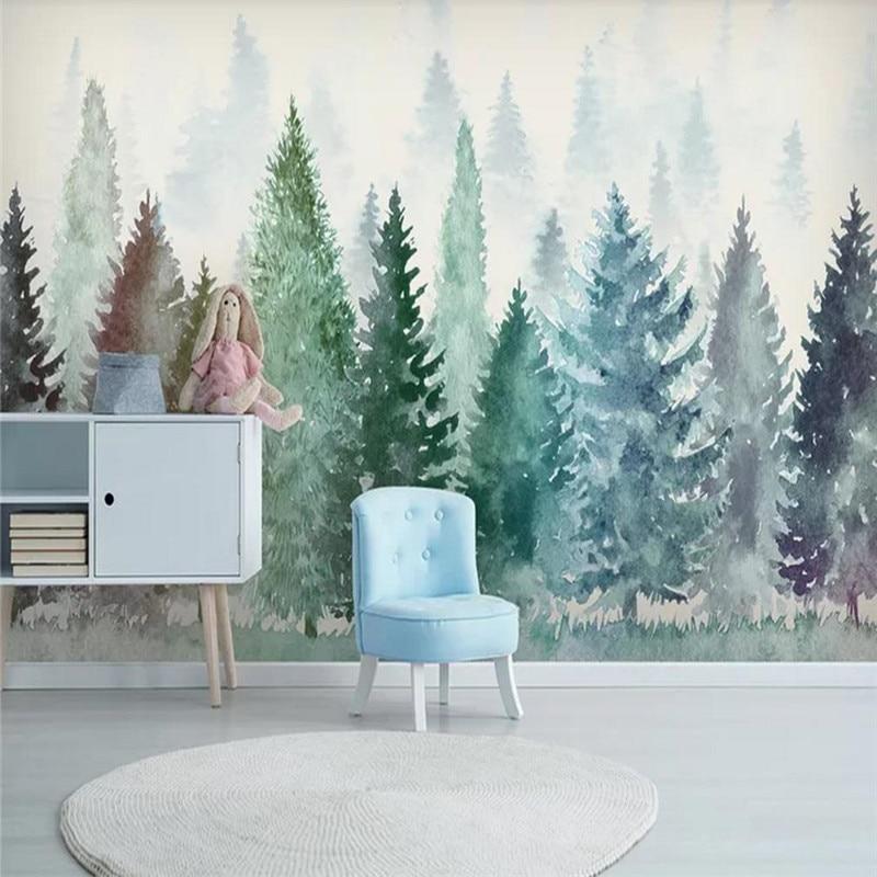 Изготовленные на заказ обои, маленькая свежая Акварельная ручная роспись, лес, туман, лес, фон, настенная живопись, водонепроницаемый матери...