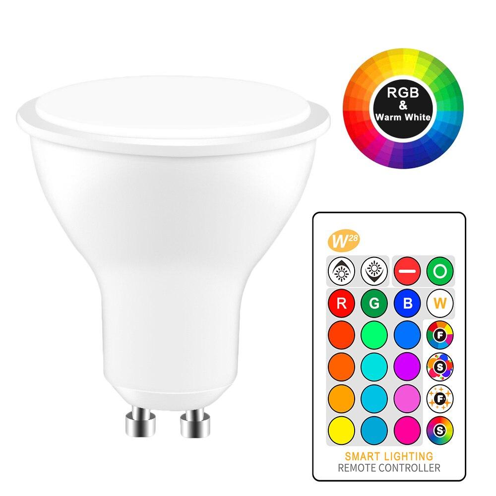 8 Вт светодиодная RGB лампа GU10 RGB Светодиодная лампа 110 В 220 В Светодиодная лампа высокой мощности светодиодные лампы 16 цветов Сменные с ИК-пультом дистанционного управления