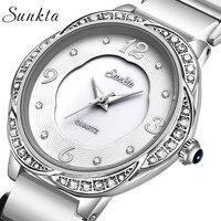 SUNKTA2021 New Womens Watch Top Brand Luxury Ceramic Waterproof Watch Women Diamond Quartz Wristwatch Ladies watch Reloj Mujer