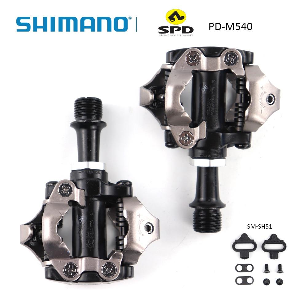 SHIMANO PD M540 PD-M540 Pedal SPD cromado-moly y aluminio compacto MTB bicicleta ciclismo auto-bloqueo Pedal Wit SM-SH51 Cleats