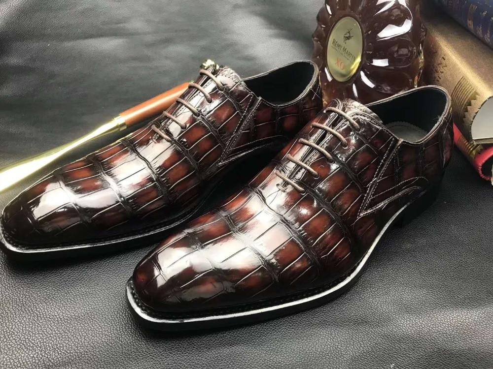 100% حقيقية الحقيقي بطن تمساح الجلد تسلق 2 ألوان جلد الرجال حذاء دائم الصلبة التمساح الجلد الرجال اللباس الأحذية الرسمية