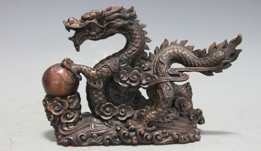تمثال تنين صيني من البرونز والنحاس, ديكور لفنغشوي