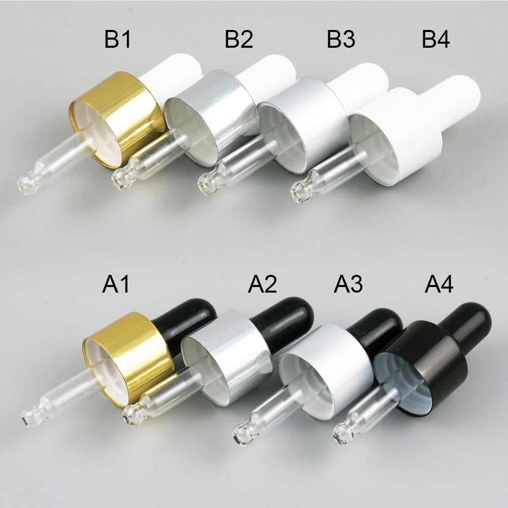 ¡Listo para enviar! 100 Uds 18MM 18/415 tapa de rosca de aluminio blanco bulbo negro gotero de pipeta de vidrio accesorios para 5ml-botellas de 100ml
