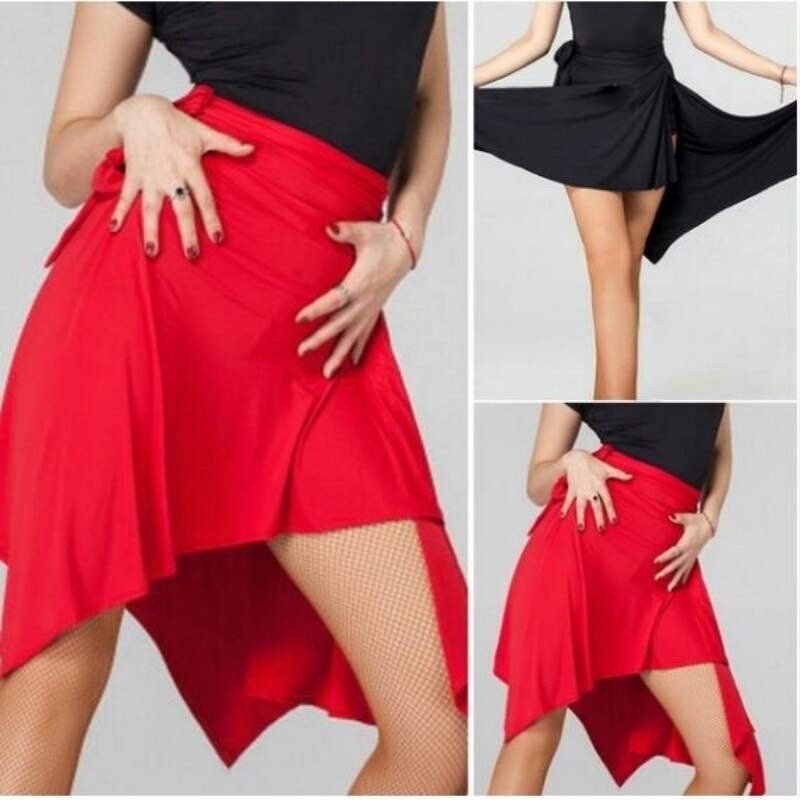 Mujeres salón Latino Salsa Tango falda baile Skate Scroll bufanda Dancewear Wrap bufanda Rojo Negro cintura alta Dancewear 904-A093