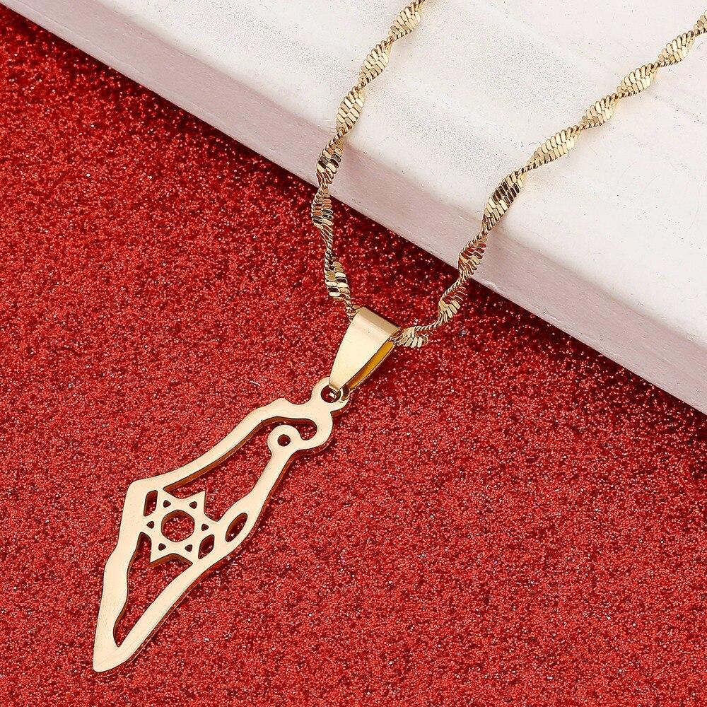 Israel Map Pendant Necklace Hexagram Jewish Jewelry Magen David Jewelry Star of David