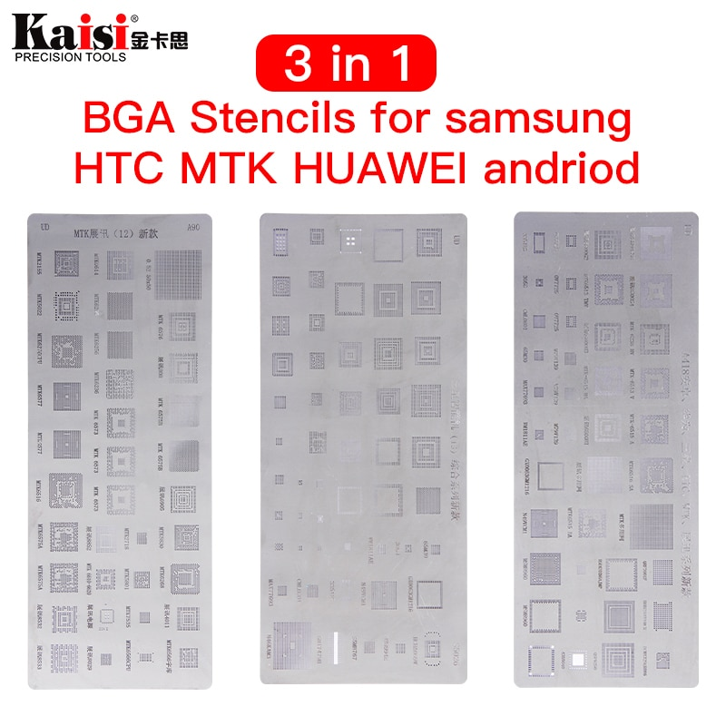 High quality 3pcs universal BGA Stencils for MTK Samsung HTC Huawei Android  Directly Heated Reballing Kit
