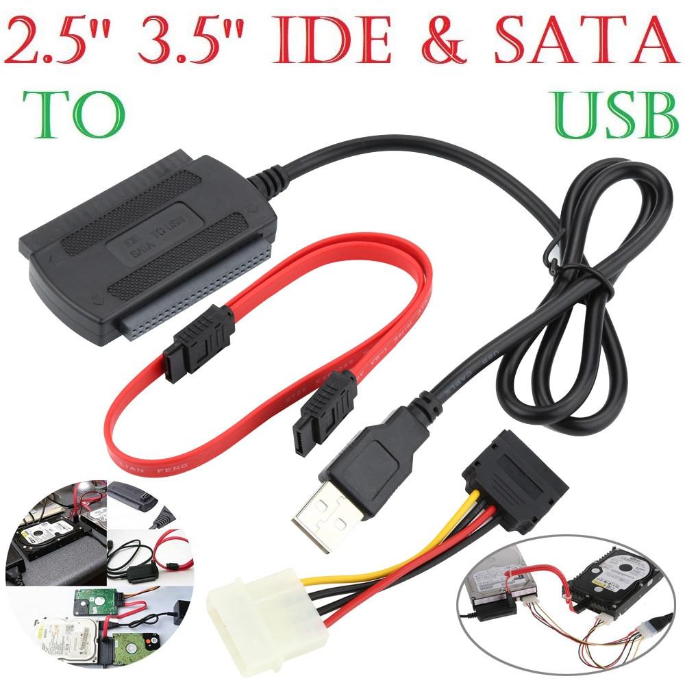 2,5/3,5 SATA/IDE Zu USB 2.0 Adapter Konverter Kabel Für Festplatte CD DVD ROM 4 Pin power Kabel