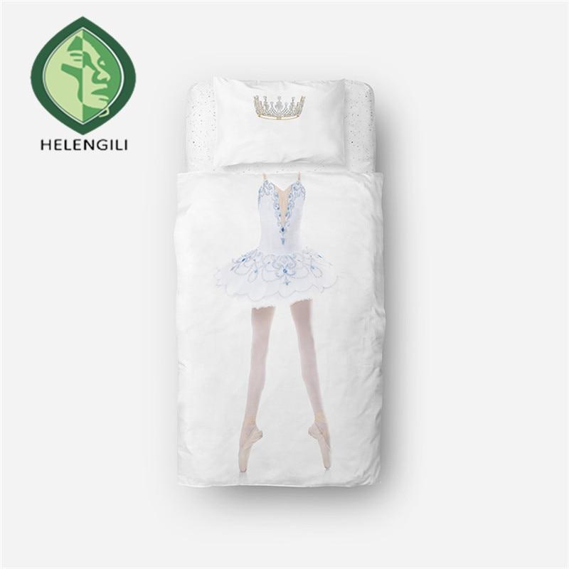 HELENGILI 3D Bedding Set Ballet dancer Print Duvet cover set lifelike bedclothes with pillowcase bed set home Textiles #RW-06