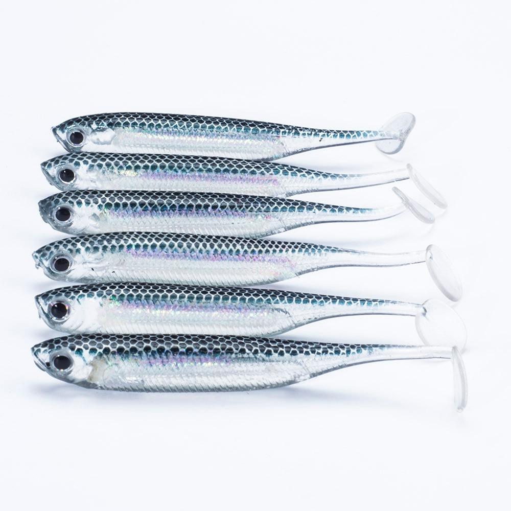 SEALURER  6pcs/lot New 75mm/2.2g Vivid Soft Lures Artificial Loach Fishing Bait Swimbait Fishing Worm e Fishing Lures