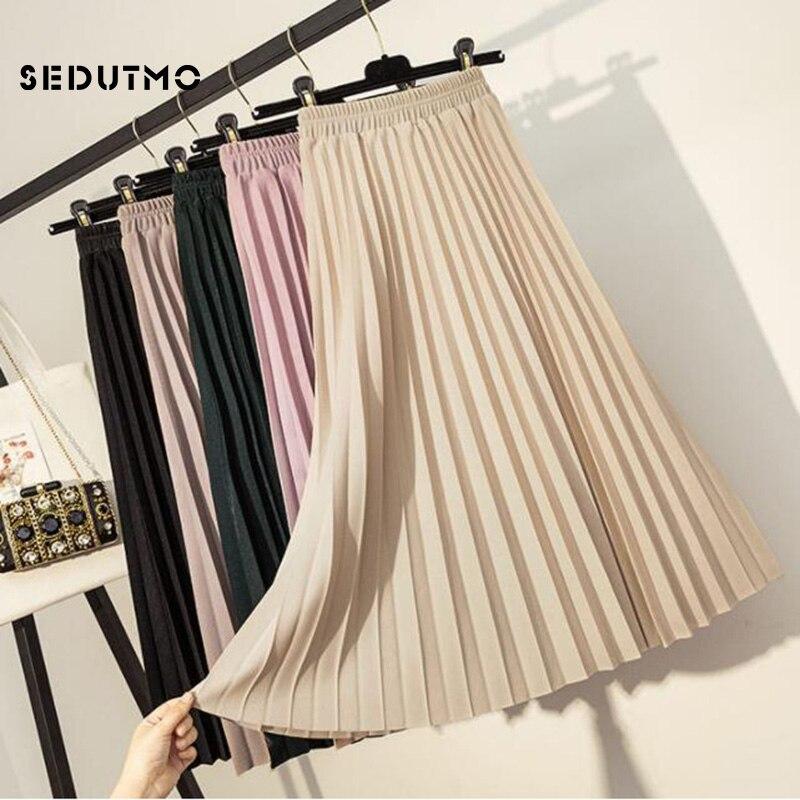 SEDUTMO, faldas plisadas de primavera, Falda Midi de alta calidad para mujer, falda tutú clásica negra Vintage de otoño ajustada, falda tutú clásica ED609